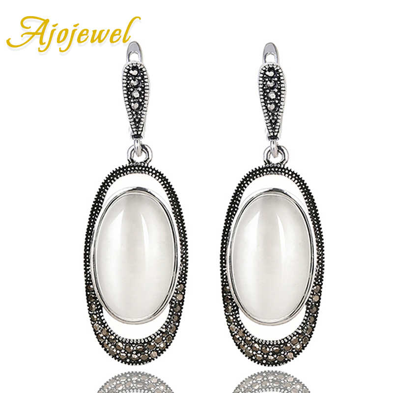 Ajojewel New Arrival Egg Shaped Stone Green/White Opal Earrings For Women Vintage Jewelry For Wedding Party Gifts