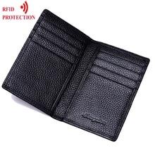 Натуральная кожа держатель для карт черный кредитный держатель для карт s кошелек первый воловья кожа держатель для карт s Чехол подарок для мужчины кошелек протектор RFID
