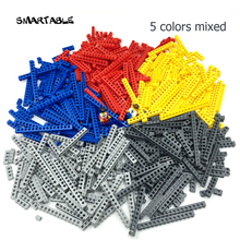 Smartable  Technic Bricks With Holes 10 sizes 5 colors Mixed Building Blocks MOC Parts DIY Toys Compatible 500g/lot