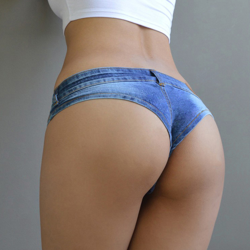 DJGRSTER Sexy Vintage Mini Pendek Jeans Booty Shorts Lucu Bikini Denim Pendek Hot Cosplay Sexy Party Club Bikini Bawah
