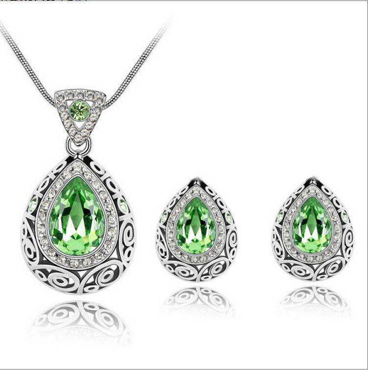silver Plated Rhinestone Crystal African Beads Vintage Water Drop Crystal Jewelry Sets Jewelry for 2016 women