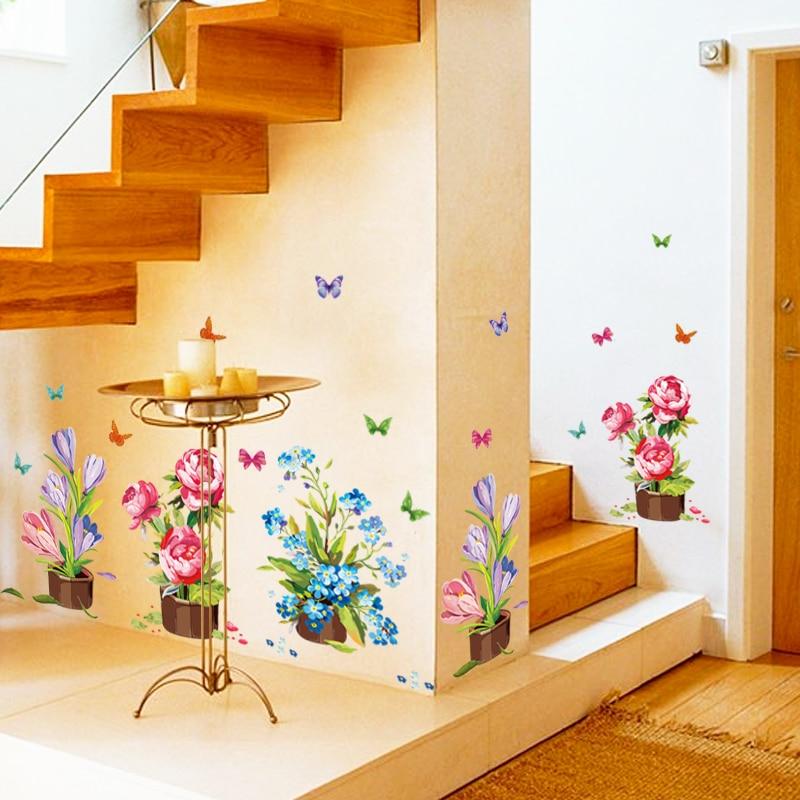 Branch Pot Flower Basket Tree Butterfly Corner Wall Sticker For Kids ...