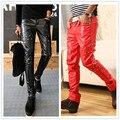 Otoño Invierno moda Casual Brand delgado rivet Fake Cremalleras Negro Rojo PU de Cuero de Imitación Lápiz Adolescentes Pantalones para hombre pantalones flacos
