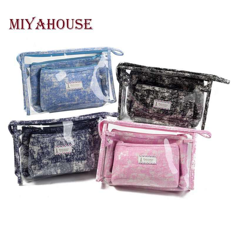 Miyahouse Hot Sale 3pcs Set Female's Travel Toiletry Bag PVC Waterproof Transparent Women's Cosmetic Bag Ladies Make Up Bag