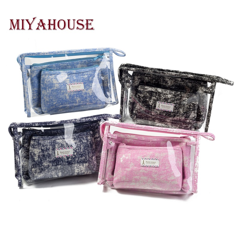 Miyahouse Hot Sale 3pcs Set Female's Travel Toiletry Bag PVC Waterproof Transparent Women's Cosmetic Bag Ladies Make Up Bag image