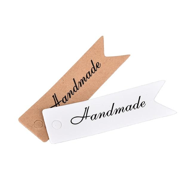 100pcs thank you handmade tag hang tag craft cards label kraft