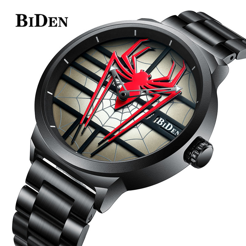 Luxury Brand BIDEN Men Fashion Sports Watches Men s Personality Spiderman Watch Full Steel Waterproof Quartz