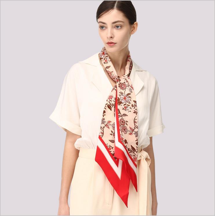 Equtife 100% Twill soie foulard 2018 nouvelle mode Double visage foulards foulard all-match décoration pour les femmes sur la tête taille sac