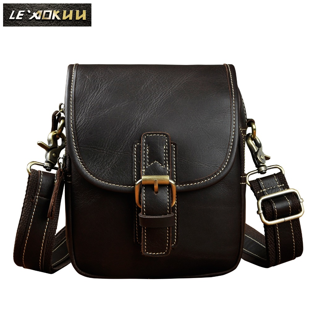 Quality Leather Men Design Casual Multifunction Small Messenger Crossbody Bag Fashion Waist Belt Bag Phone Pouch Male 1168