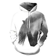 Animal Pullover Tracksuit Mens Hoodies 3D Print Forest Tree Swift Horse Casual Tops With Cap White Hooded Sweatshirt Men/Women errea errea swift cap