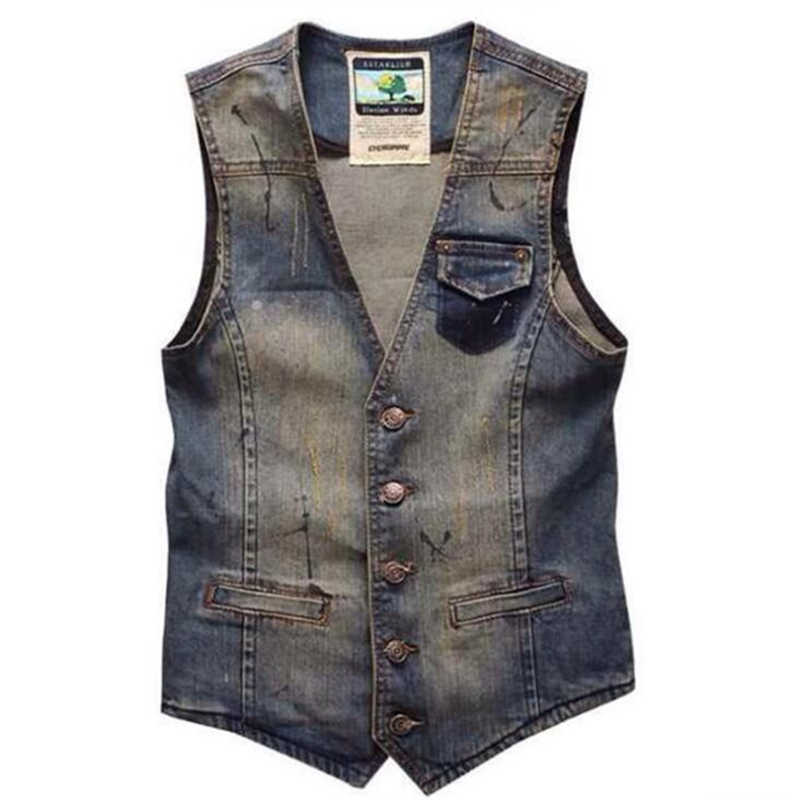 de72ccbcccc Новый Для мужчин  джинсовый жилет Повседневное тонкий куртка без рукавов  Ковбой Винтаж отверстия джинсы мужской