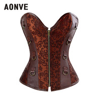 AONVE Gothic Brown Sexy Corset Goth Top Costumes Clothing For Women Bustier Losing Abdominal Fat korse Espartilhos e Corpetes