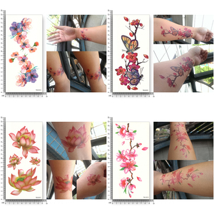 Image 3 - 16 листов водонепроницаемые Временные татуировки переводные Цветочные наклейки Красота Здоровье Декорации для тела, рук для женщин и девочек Сексуальный макияж