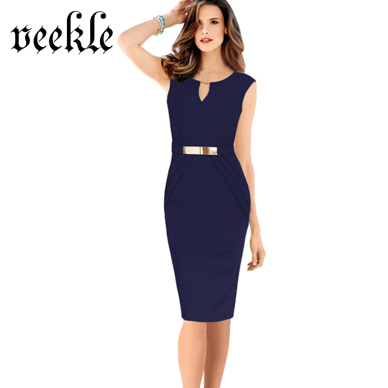 buy veekle women summer work office dress sleeveless keyhole ruched with belt. Black Bedroom Furniture Sets. Home Design Ideas