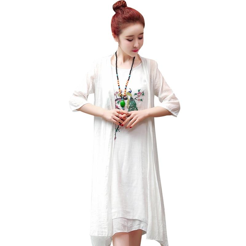 2019 New Arrival Soft Cotton Linen Summer Dress Fashion Embroidery Phoenix Loose Two Piece Set Dress Suits Women Casual Dress 6