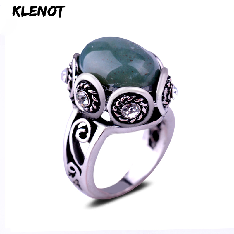 Natural Indian Agate Silver Ring For Women Ocean Onyx  Stone Antique Oval Setting Crystal Flower Vintage Men Gift Finger Rings