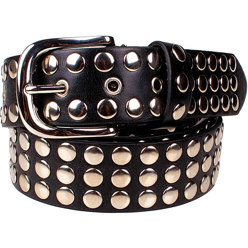 Նորաձևություն Կանանց ողնաշարային գոտի Punk ռոք ոճի գոտիով տիկին Sequins Metal buckle Ողջ մետաղի ճարմանդ բշտիկով գոտի