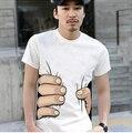 2016 Hombres Ropa Big Hand t shirt 3d visual parodia de la personalidad creativa apoderarse de su Camiseta de algodón camisa