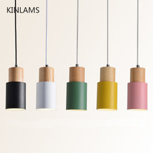 Designer Nordic simple Wood Pendant Lights led hang lamp Colorful Aluminum fixture Kitchen Island bar hotel home decor E27(China)
