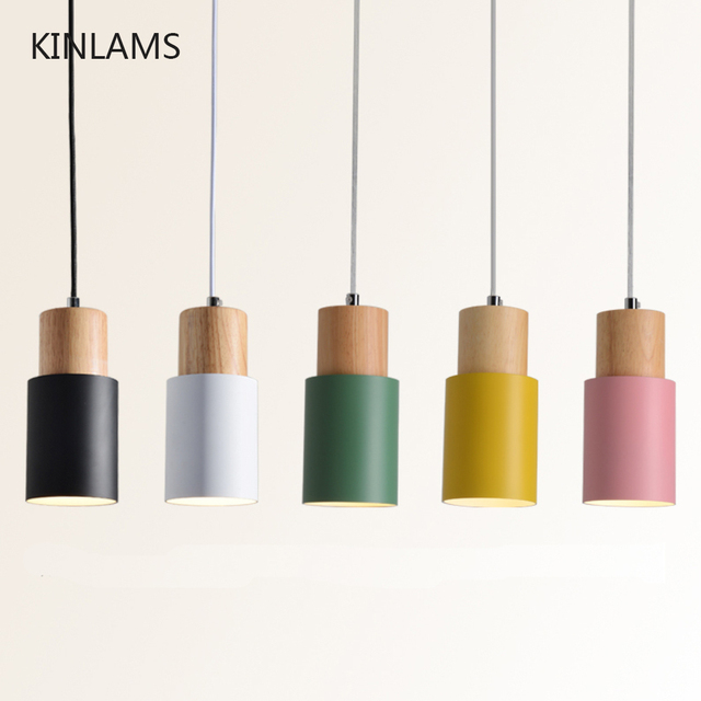 Designer Nordic simple Wood Pendant Lights led hang lamp Colorful Aluminum fixture  Kitchen Island bar hotel home decor E27