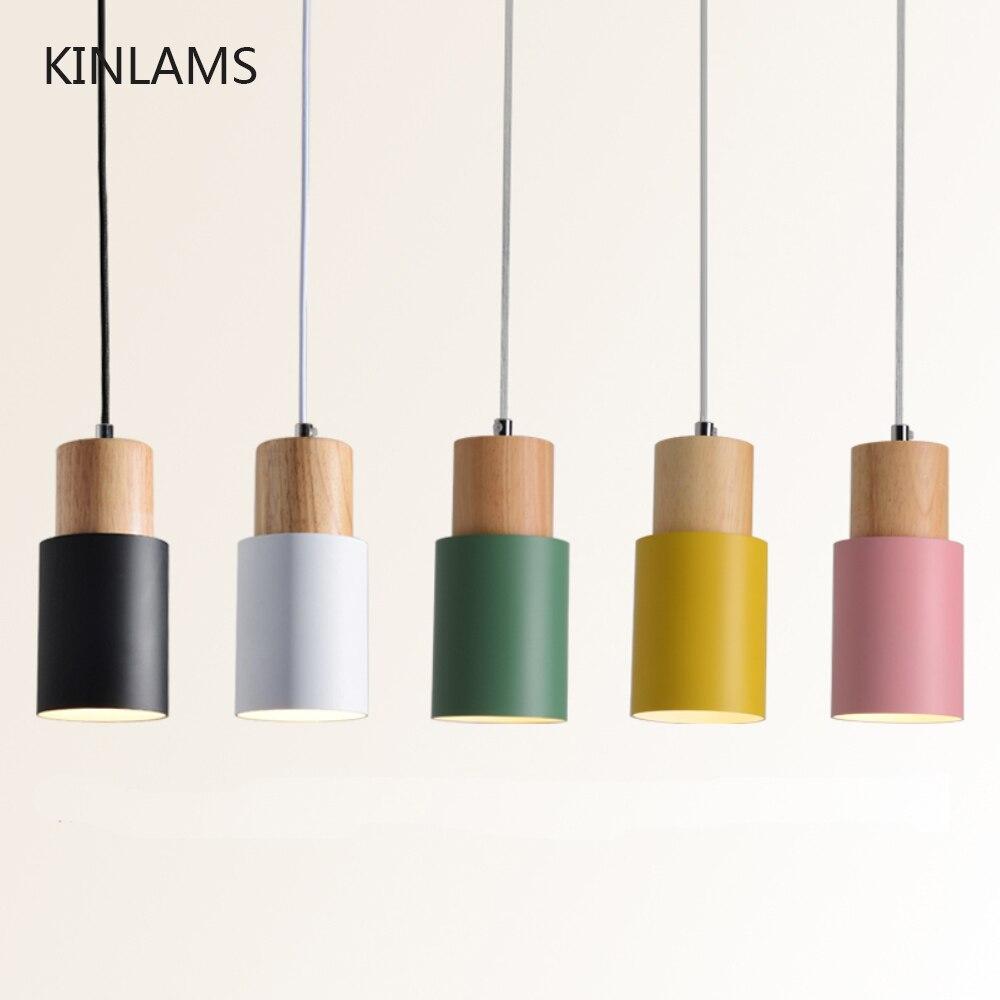 Diseñador nórdico simple madera colgante luces led colgar lámpara colorido accesorio de aluminio cocina isla bar hotel decoración E27