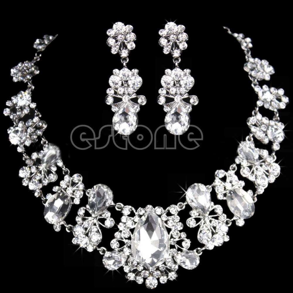 1c33878b5ab6 Nueva nueva novia plata rhinestone rojo COLLAR COLGANTE Pendientes Juegos  de joyería   y51