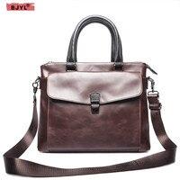 BJYL 14 ноутбук 100% натуральная кожа мужская деловая Сумочка поперечная Пряжка портфель сумка мессенджер дорожные сумки на плечо