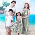 Оптовая зеленые вертикальные полосы платье мать и дочь платья Семья установлены Папа Сын Футболки + шорты 2 шт. наборы