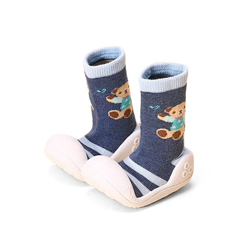 Kids Cute First Walker With Soft Socks Anti Skid Toddler Bear Prints Slip On Indoor Baby Girls Boys Shoes Flat Shoe 2017 Spring