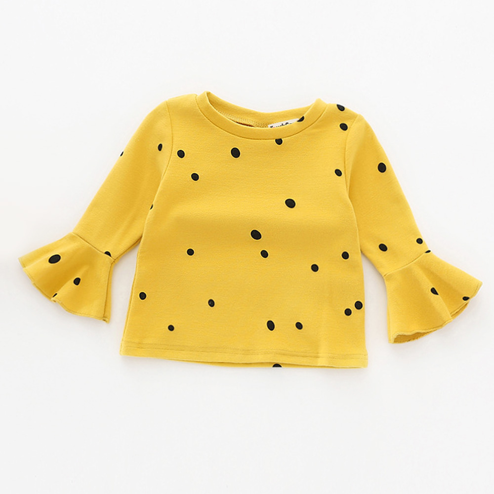 Touchcare-Lotus-Leaf-Sleeve-Baby-Girl-T-Shirts-Solid-White-Pink-Yellow-Colors-Dots-T-shirt-Autumn-Cotton-Baby-Girl-Clothes-2