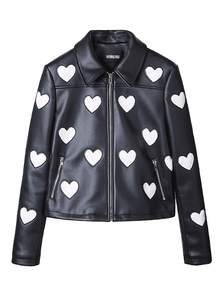 2018 Autumn Leather Jacket Women Short Slim Black PU Love  High End Washed Leather Sweet Soft Leather Coat HR1002