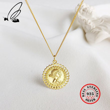 Portrait Necklace Pendant 925 Sterling Silver Gold Color Chain Vintage Long Coin Necklaces Collares Mujer Jewelry For Women Taki