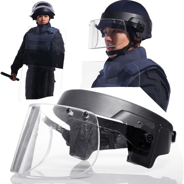 3e3b71dd Security Guard Equipment Bullet Proof Glass Ballistic Face Shield Police  Anti Riot Face Shield Military Bulletproof