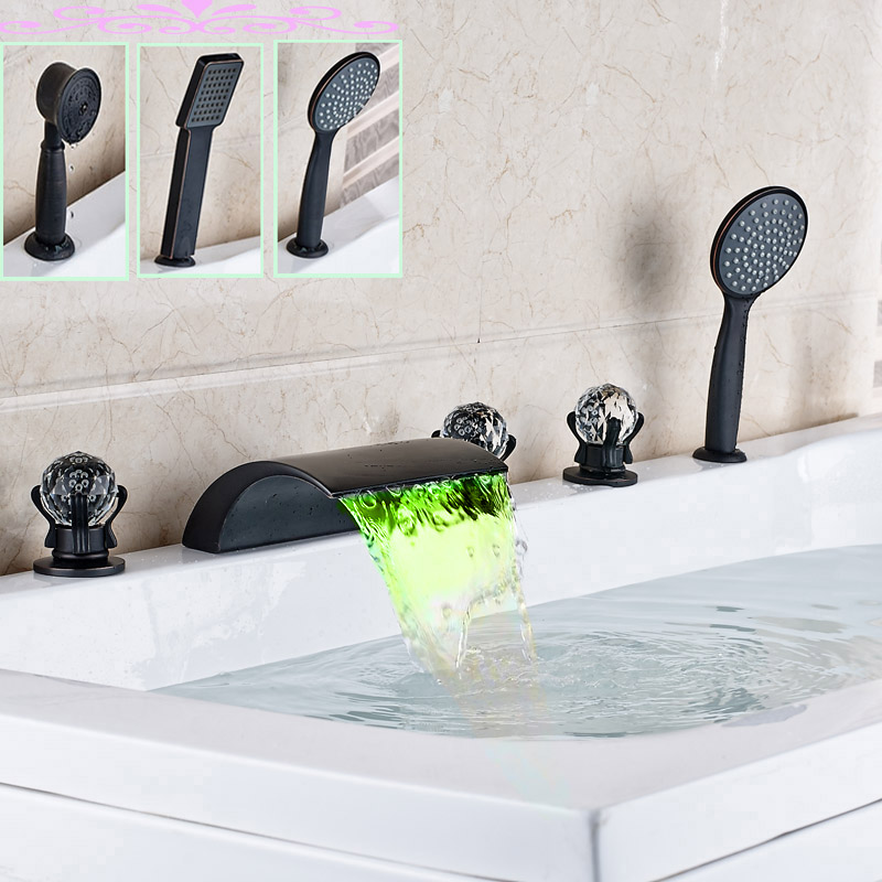 LED Light Widespread Waterfall Tub Filler Deck Mounted Oil Rubbed Bronze Tub Mixer Taps with Hand Shower
