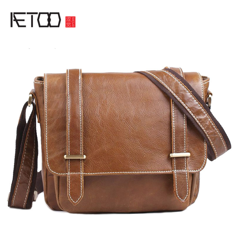 AETOO First layer of cowhide oil wax leather shoulder Messenger bag casual fashion simple postman package men and women general leather handbag shoulder bag casual first layer of leather men s oil wax messenger bag korean man bag tide