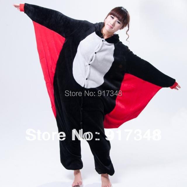Cartoon Animal Bat Unisex Dospělý Flanel Onesies Onesie Pajamas Jumpsuit Hoodies Sleepwear Pro dospělé na Halloween