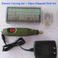 Portable Electric Wood Carving Tools Set Mini Electric Engraving Chisel Pen +30PCS Diamond Drill free shipping