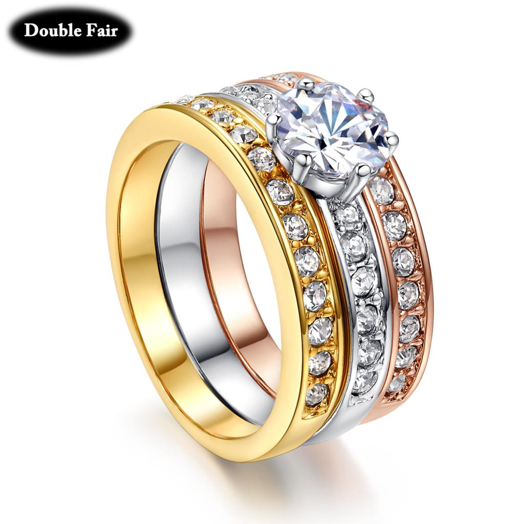 Classic Design 3 Color Round Cubic Zirconia Paved Engagement Rings Sets For  Women Rose Gold Color