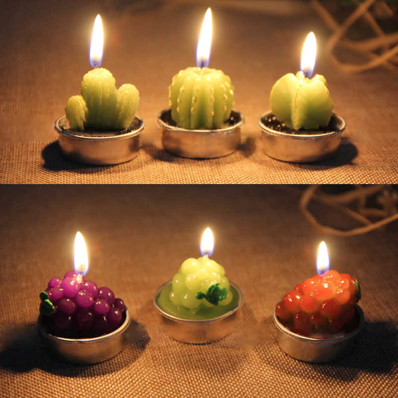 1PC Creative 3D Cactus Candles Home Decoration Simulated Plants Smokeless Scented Candle Valentine Day Gift Party Ornament