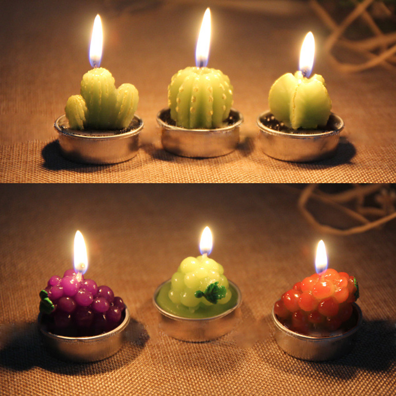 1PC Creative 3D Cactus Candles Home Decoration Simulated Plants Smokeless Scented Candle Valentine Day Gift Party Ornament in Candles from Home Garden