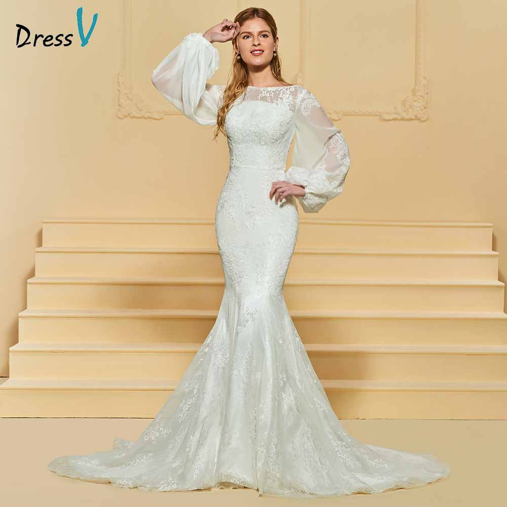Dressv elegant trumpet scoop neck lace wedding dress long sleeves button floor length bridal outdoor&church wedding dresses