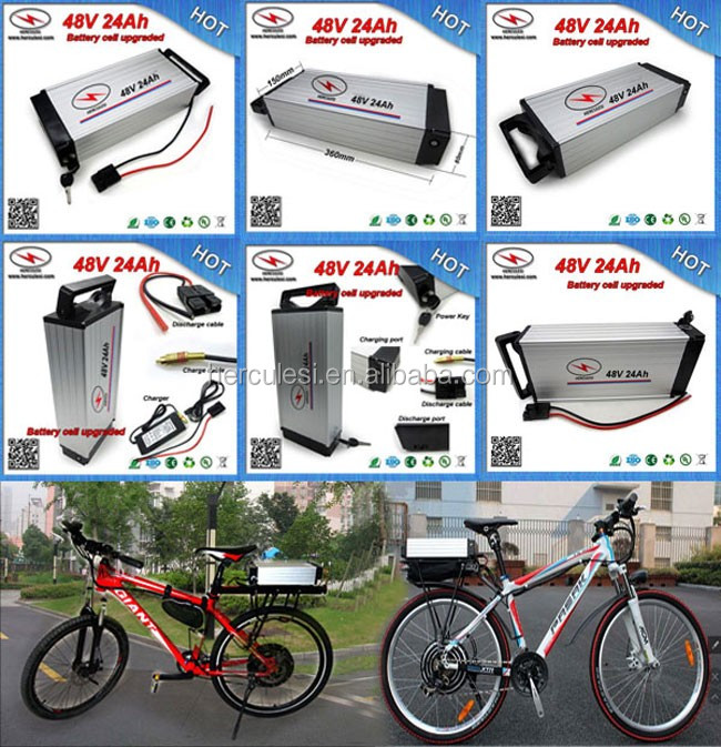 Black Aluminum Cased 36V 10Ah Electric Bike Li Ion Battery Rear Rack 36V 13Ah LiFePO4 Battery with Charger .jpg