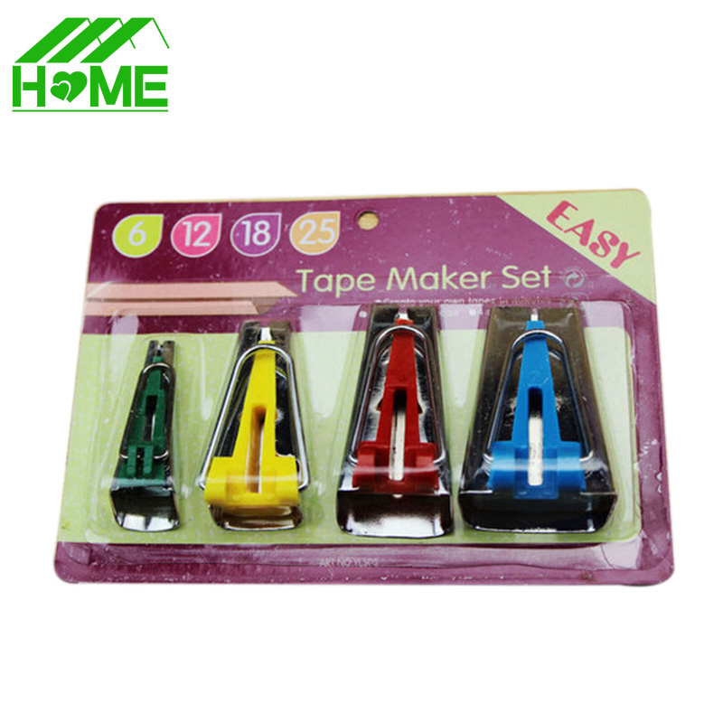 4pcs/lot Fabric Clover Bias Tape Maker Binding Tool Set Machine Sewing Quilting Hemming 6mm 12mm 18mm 25mm Leather Hand Tools