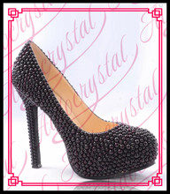 Aidocrystal pure black pearls personal handmade high heel shoes platform women sexy dress footwear fashion hot sale