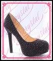Aidocrystal puro negro perlas hecha a mano personal de plataforma zapatos de tacón alto de las mujeres de moda sexy vestido calzado venta caliente