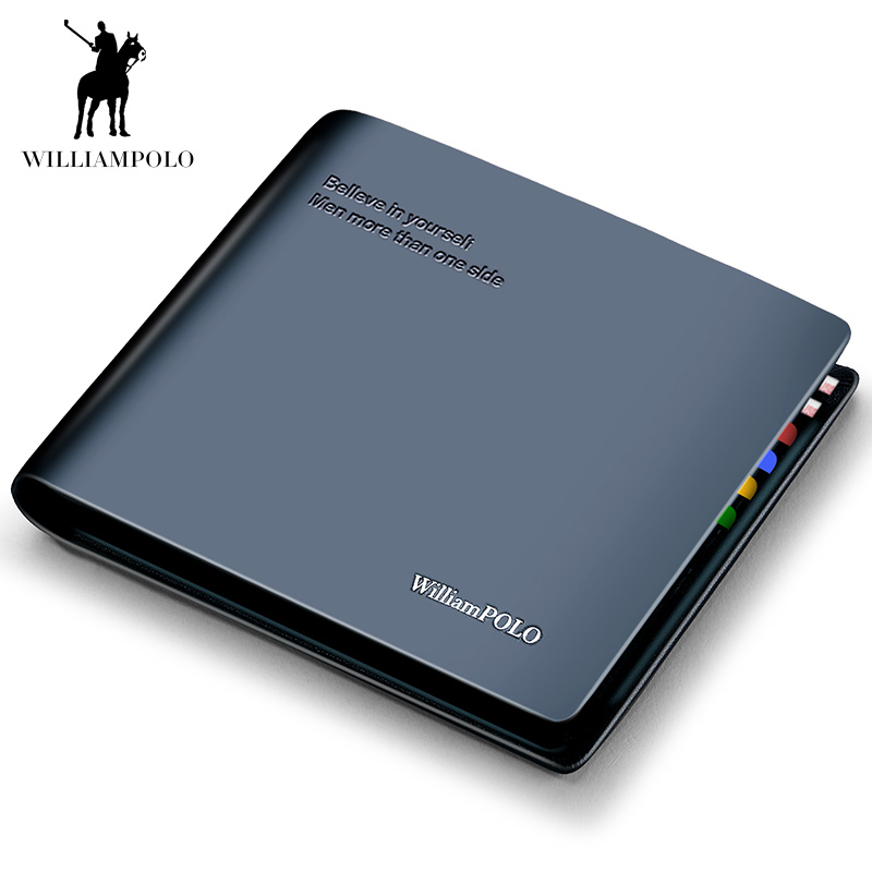 WilliamPOLO Luxury Genuine Leather Men Wallet Short Bifold Wallets Male Clutch Coin Purse Card Holder Multifunction Small Wallet men wallets famous brand luxury genuine leather short bifold wallet mens clutch card holder male purse money bag coin pouch