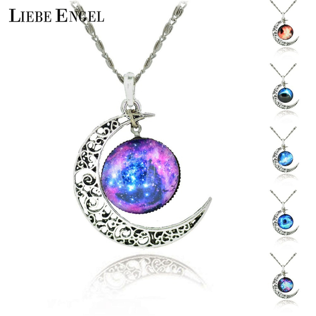 LIEBE ENGEL Brand Silver Color Jewelry Moon Statement Necklace Glass Galaxy Collares Necklace&Pendants Maxi Necklace Women 2017