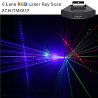 6 Lens RGB 24 Patterns & Dots Matrix Ray Beam Nets Effect Lamp Holiday Party DJ Disco Show Projector DMX Laser Stage Lights B X6