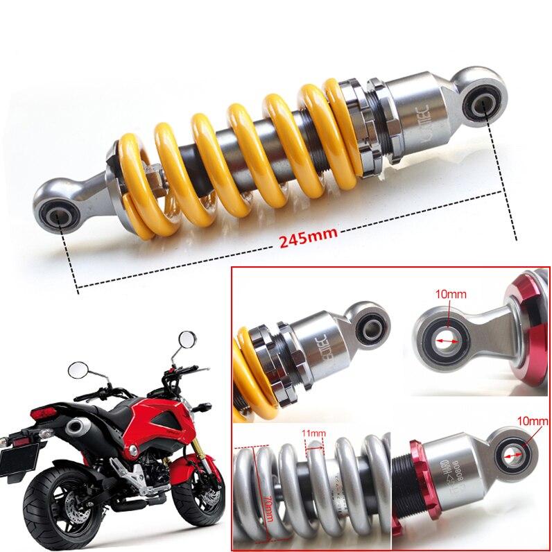 245mm Suspensão Amortecedor Traseiro De Moto De Volta Redonda 10mm Encaixe universal Para O Motor Yamaha Scooter ATV Quad Amarelo vermelho