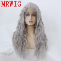 MRWIG Real Hair Looking 18in 150%Density Long Curly Middel Part New Grey Synthetic Glueless Front Lace Wig